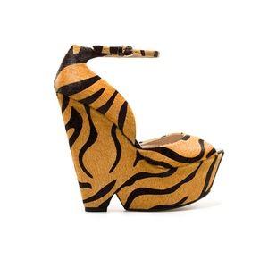 Zara tiger print wedges - size 7.5
